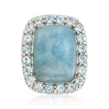 True blue. smooth milky aquamarine cabochon framed by blue topaz. Sterling silver ring.
