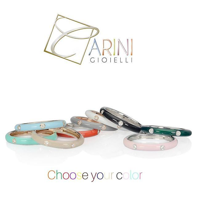 What color do you like?  Midi rings in 18k gold with diamonds, covered with amazing colored enamel. #carinigioielli #fashion #fashionjewelry #fashionph #fashionista #moda #womanjewelry #handmadejewelry #coloredstones #instagems #livecolorfully #jewelrylover #rings #jewelrygram #engagementring #jewelrydesign #couplegoals #instawed #bridesmaid #fiancé #accessories #instabeauty #likes #etsyshop #anelli #diamonds