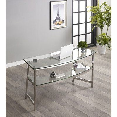 #bedroom #furniture The impressively simple #Julian Furniture Beroni 62 in. Glass Writing Desk was designed with your modern lifestyle in mind. Breezy, classic s...