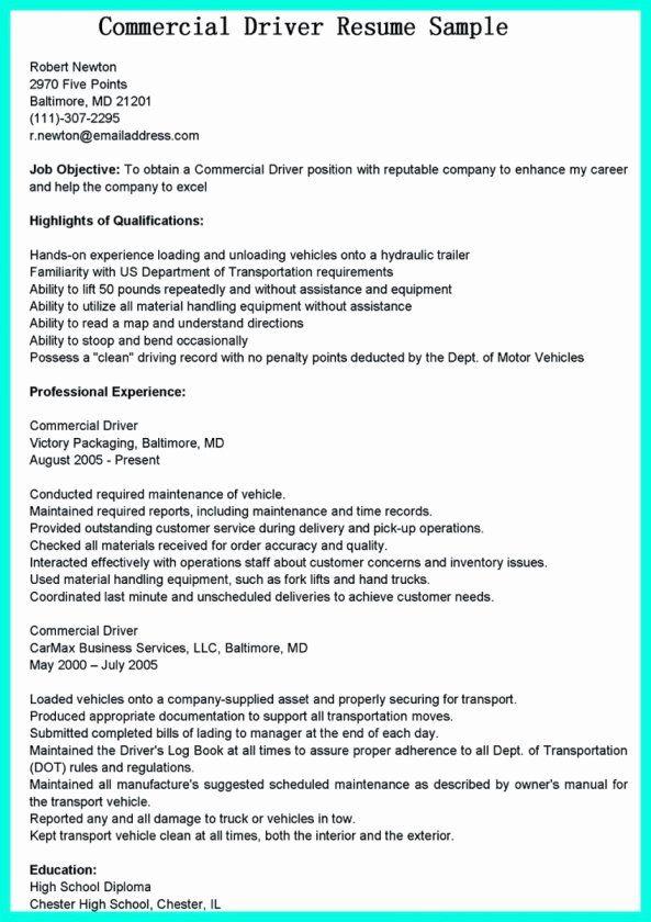 Delivery Driver Job Description Resume Luxury 12 13 Truck Driver Qualifications Resume In 2020 Driver Job Job Description Resume