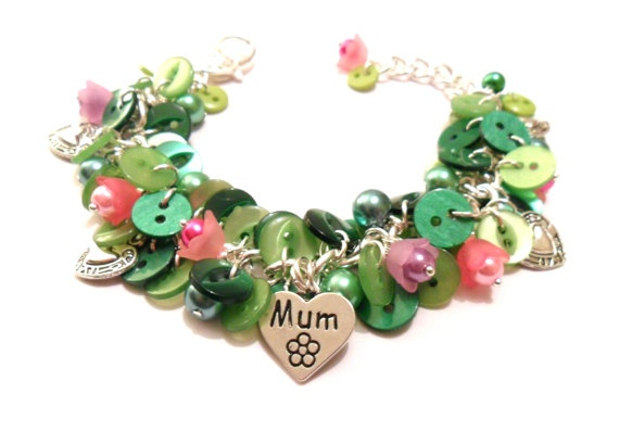 Mother's Day Jewellery Green Button and Pink Flowers by FunkyPinks