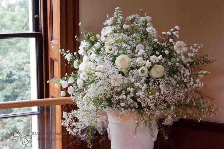 #wedding arrangement, white gypsophila, asters, roses, lisianthus, scabious.