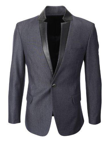 FLATSEVEN Homme Slim Fit Cuir Lapel Blazer Veste Denim (BJ216), Boys L  FLATSEVEN 72639a8509a
