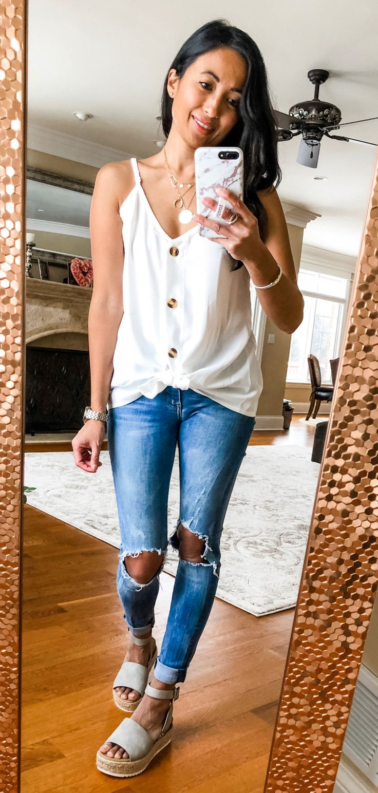 white camisole #spring #outfits
