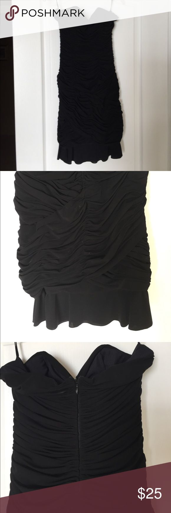 Mayda Cisneros Cocktail Dress Stunning black, form fitting Cocktail Dress, ruched and strapless with back zipper and boning to prevent sliding. Mayda Cisneros Dresses Mini