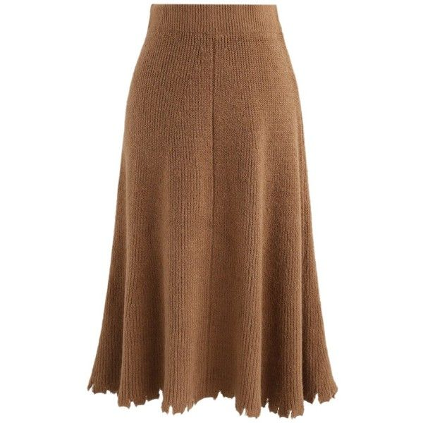 Chicwish Eyes On Frayed Hem Knitted A-Line Skirt in Brown (60 CAD) ❤ liked on Polyvore featuring skirts, brown, brown skirt, chicwish skirt, knee length a line skirt, a-line skirts and brown knee length skirt