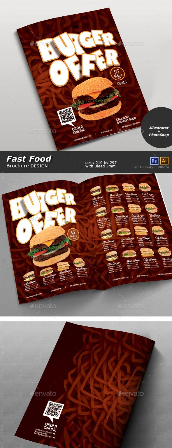 Restaurant Fast Food Menu Restaurant Fast Food Menu editable in illustrator cs6 and Photoshop cs6. Source: Ai, Eps, Psd Size: 210 by 297 Bleed: 3mm Images are not included but free to use download links available in help file.