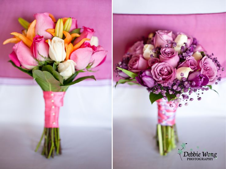 Spring bouquets with color pop by Debbie Wong Photography, Calgary Wedding Photographer. Carriage House Inn wedding, www.debbiewongphotography.com
