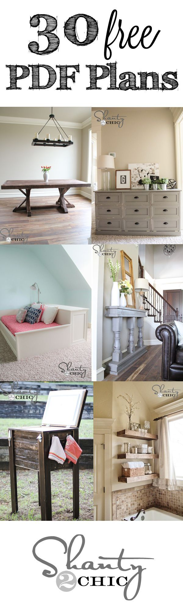 30+ FREE Printable Plans and step-by-step tutorials for any budget! DIy Furniture plans build your own furniture #diy