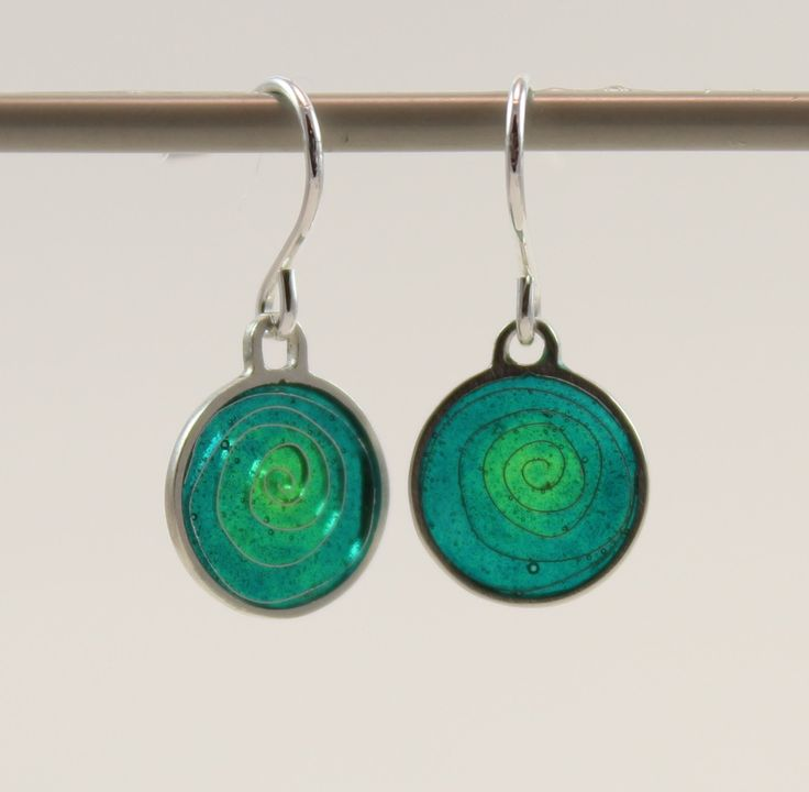Silver plique a jour enamel, stained glass earrings, sea green spiral by imogenhose on Etsy