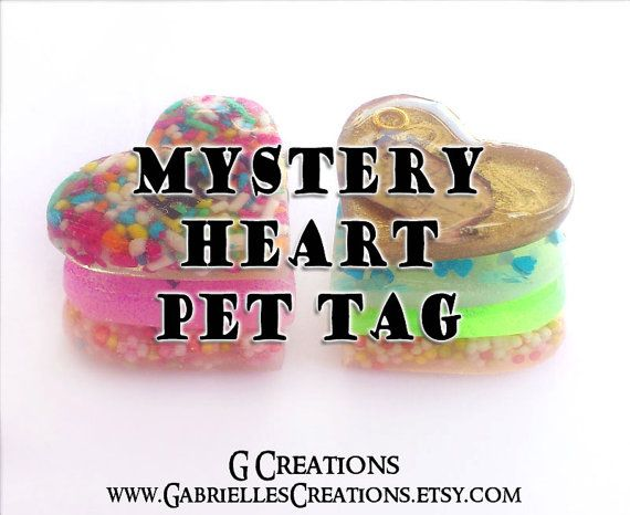SALE Mystery Heart Pet Tag ID - Small Dog & Cat Surprise Design Bling Pet ID 3.2 cm - Colorful Glitter Glow in the Dark Pet Collar Accessory