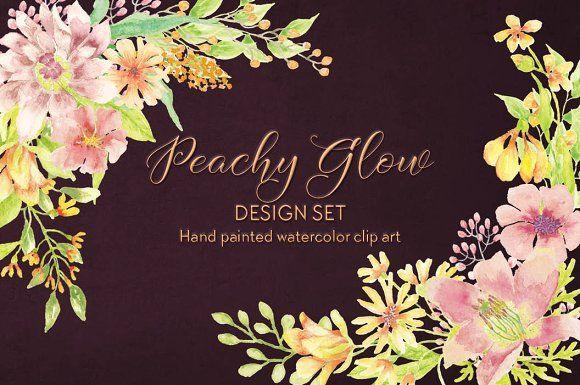 Peachy glow design set + FREEBIE by Lolly's Lane Shoppe on @creativemarket
