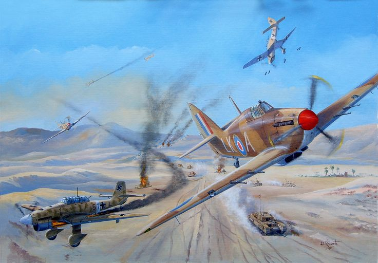 Stuka's and Hurricanes battle it out over the western desert in 1941.