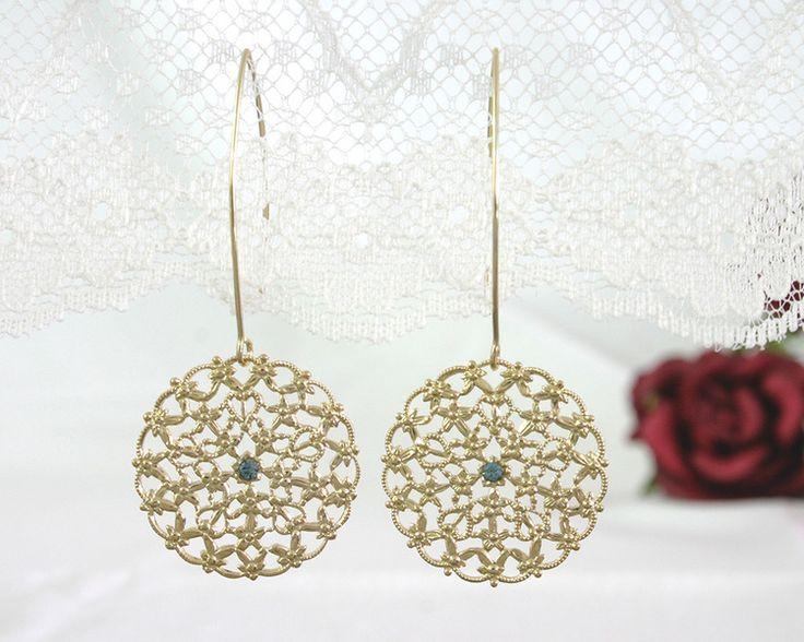 Wedding Jewellery – Long bridal earrings, Romantic wedding earrings – a unique product by alinye on DaWanda