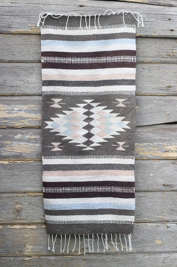 Vintage Woven Textile / Southwestern Table Runner / Colorful Blanket / Wall Hanging / Vintage Textile / Aztec / Native Design / Home Decor on Etsy, $36.00