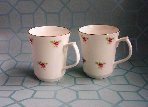 Vintage China Mugs Pink Rosebuds Jason Works by IngliVintage