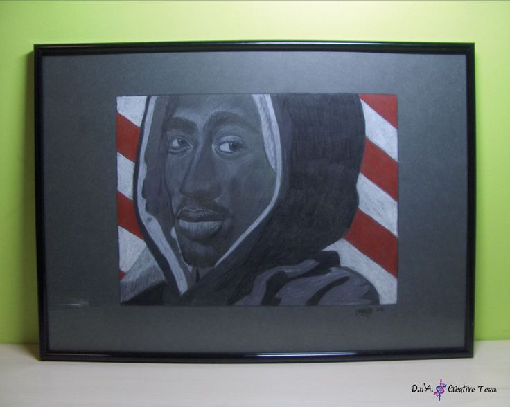 -2PAC SHAKUR PORTRAIT -Colored pencils on cardboard/ framed -Measures: 30x42 cm  https://www.etsy.com/listing/213168566/tupac-shakur-portrait-coloured-pencils?ref=shop_home_active_20