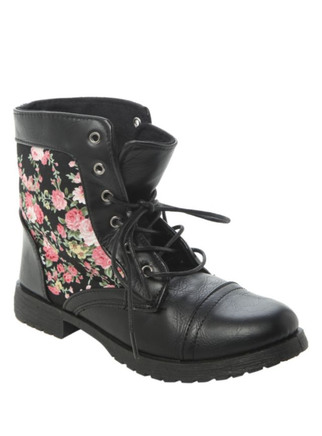 Combat style boots with faux leather lace-up upper, cap toe design and floral print side panels.