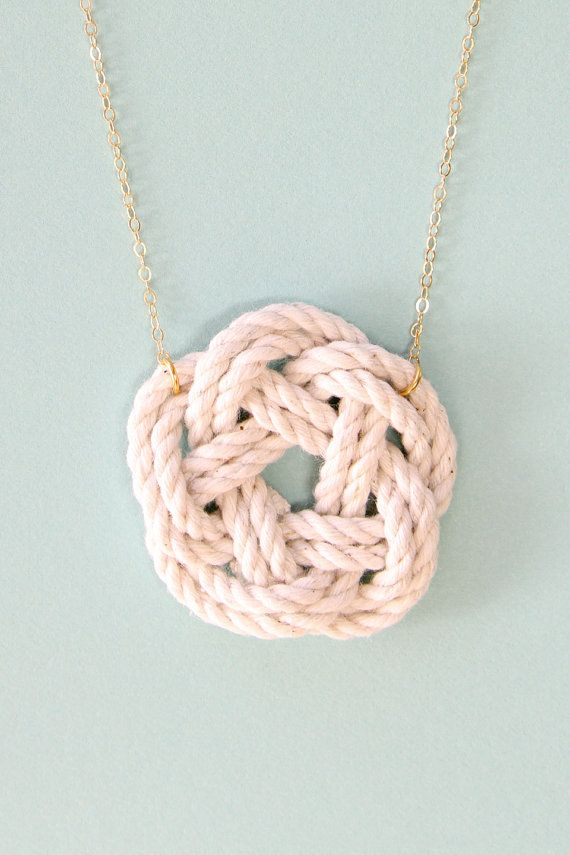 Nautical necklace sailor knot 14k gold jewelry by SeaAndCake