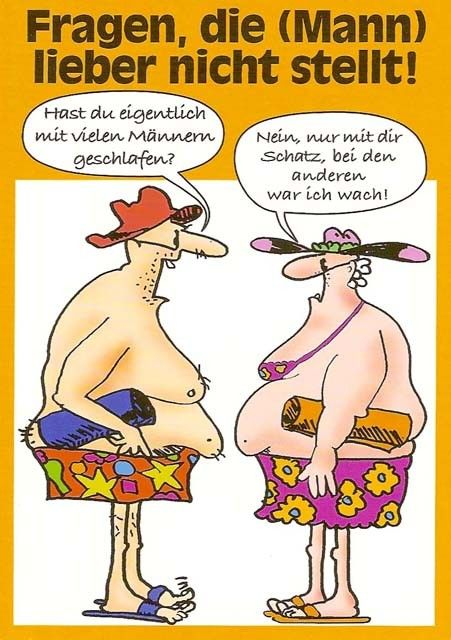 Postkarte Cartoon - Fragen, die (Mann) nicht stellt! postkarten cartoon