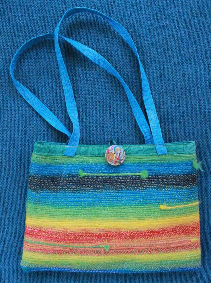 Judy Rogers Textiles Handbag  Textile Wearable Art Beach stripes $45-