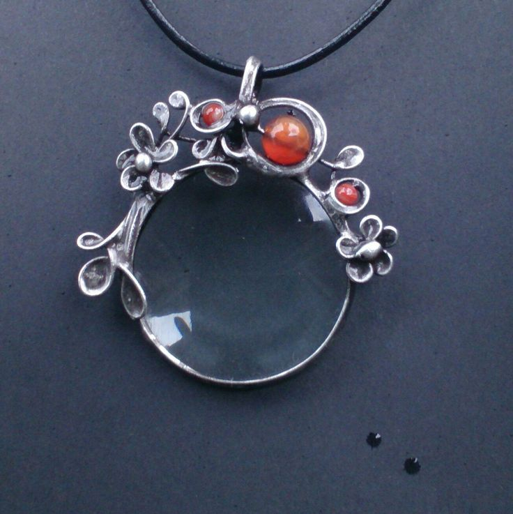 Metal necklace with Gemstone Agate and magnifying glass. Pendant is handmade.Tiffany technique, Healing Stone, jewellery . by Helenamode on Etsy