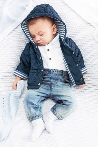 Navy Quilted Jacket (0-18mths)