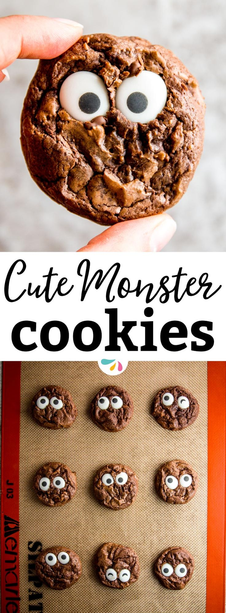 Do you want to make a Halloween treat you'll actually have fun making with the kids and that will look exactly like in the picture? Try these Cute Monster Eye Cookies! They're a great easy dessert for a party and if you don't feel like baking your own cookies you won't even need a recipe. They're creepy-cute, so they're the perfect food idea for a children's party. | #recipes #halloween #food #crafts #party #fall #trickortreat