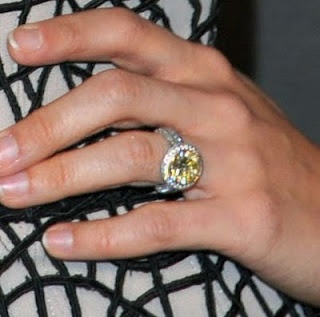 Carrie Underwood wearing a canary yellow diamond ring.