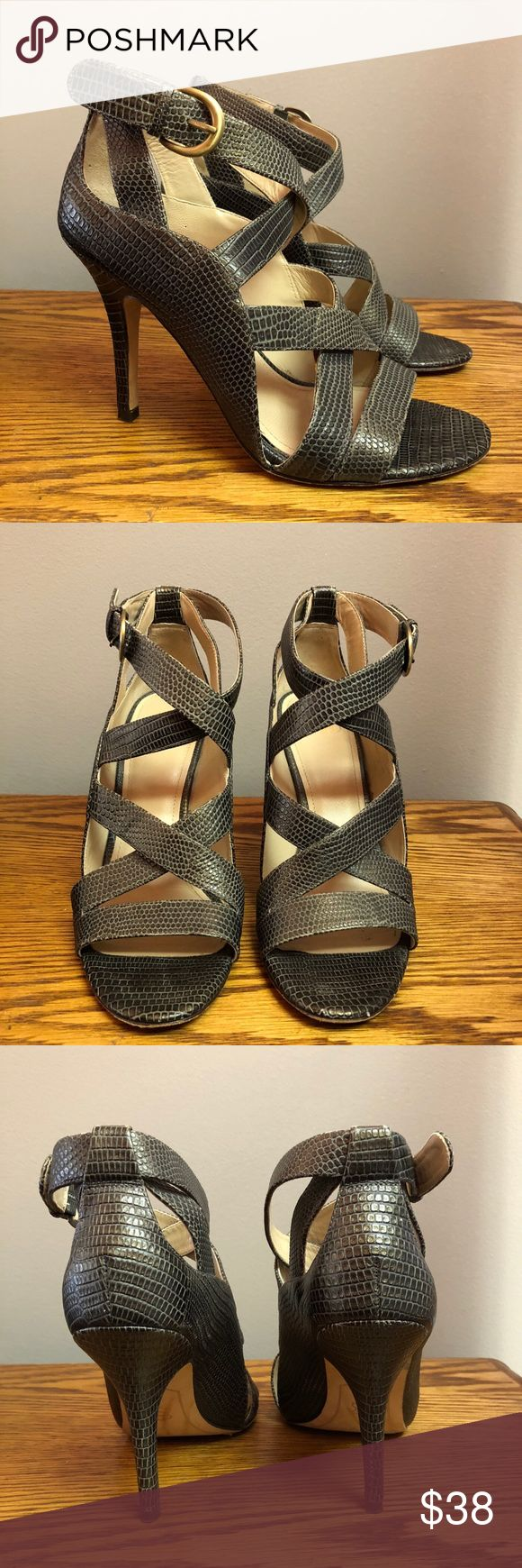 Joan & David Dk Green Snakeprint Strappy Heels Joan & David dark green leather strappy heels. Wear on soles, otherwise in perfect condition. Great heels dressed up or with a great pair of jeans. Joan & David Shoes Heels