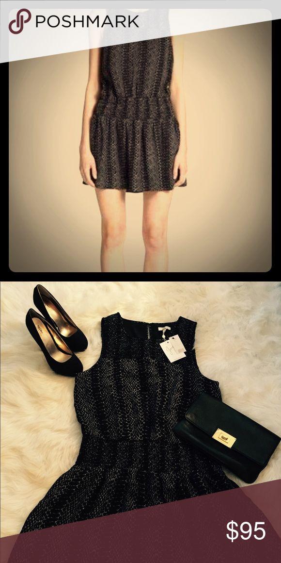 NWT Joie Dress, black with grey snake like pattern Beautiful Joie dress, size large, 100% silk, brand new with original tags Joie Dresses Midi