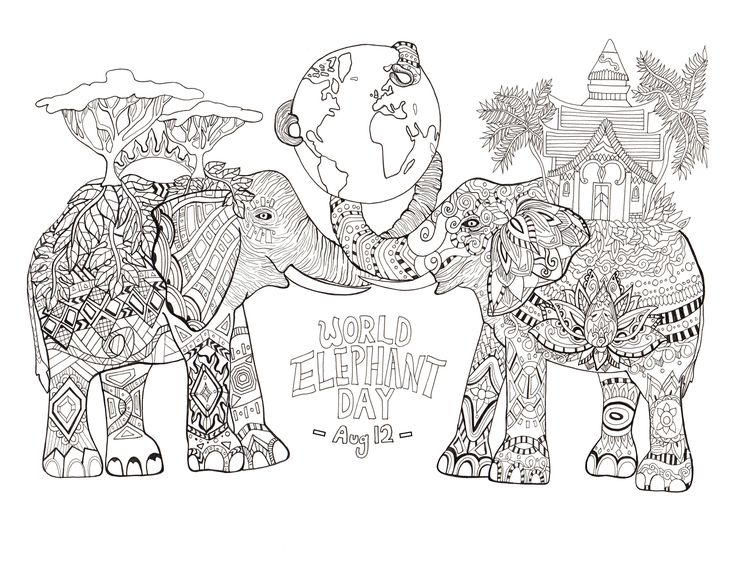 Coloring page drawn by Rylee Postulo for the World Elephant Day (Aug 12), From the gallery : Animals  #coloringpages #elephants