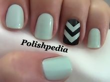 Two color colour nail art: mint and black with one chevron nail design. #spring #summer #Polishpedia