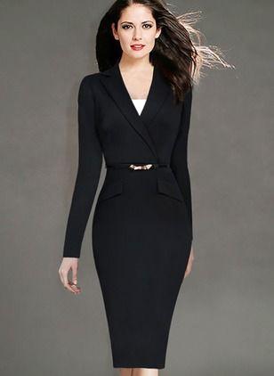 Polyester Solid Long Sleeve Mid-Calf Elegant Dresses