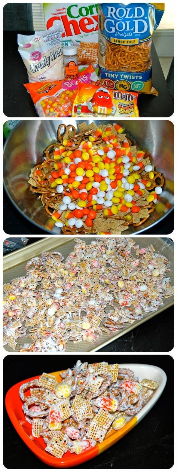 Halloween Chex Mix. So easy to make, it only took about 5 minutes. This treat was delicious and stayed crunchy and fresh for a whole week in tupperware.