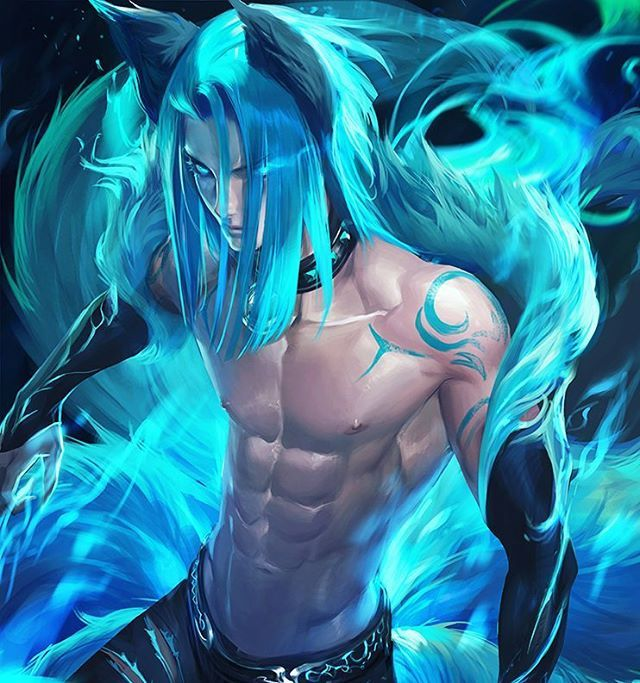 Blue fire fox, fantasy piece❤