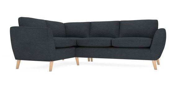 Buy Walton Corner sofa - left hand (4 seats) Linear Weave Dark Charcoal LowRetroTapered-Light | Next