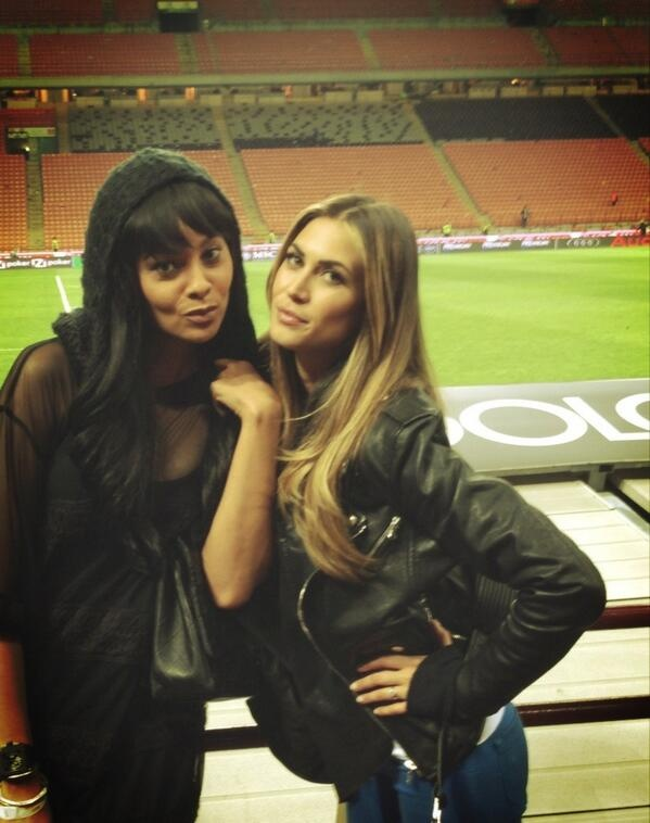 Mrs.Muntari and Melissa Satta at San Siro before the match against Napoli
