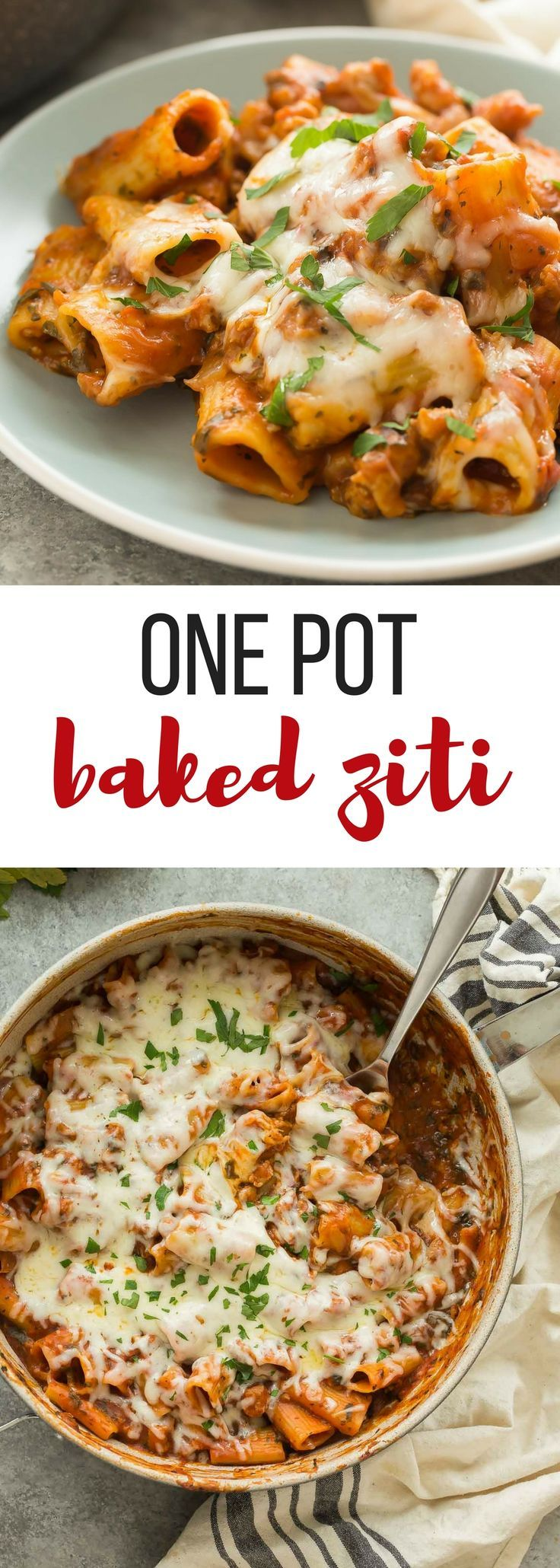 This One Pot Baked Ziti with Italian Sausage is full of flavor but easy on the dishes! It's made with turkey Italian sausage, spinach, tomato sauce and loaded with cheese -- the perfect weeknight dinner! Includes step by step recipe video.   easy recipe   easy dinner   healthy recipe   weeknight meal #onepot #onepan #onepotpasta