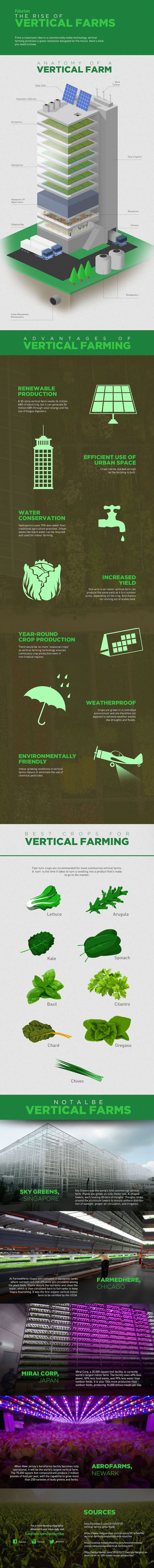 By 2050, nearly 2/3 of the world's population will be living in cities. Here's how we'll feed them.   http://futurism.com/images/the-rise-of-vertical-farms-infographic/?utm_campaign=coschedule&utm_source=pinterest&utm_medium=Futurism&utm_content=The%20Rise%20Of%20Vertical%20Farms%20%5BInfographic%5D