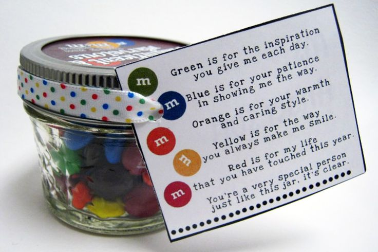 This is a cute jar of M for a staff appreciation. I have the illustrations for free @ http://rockpaperscissorsarts.blogspot.com/