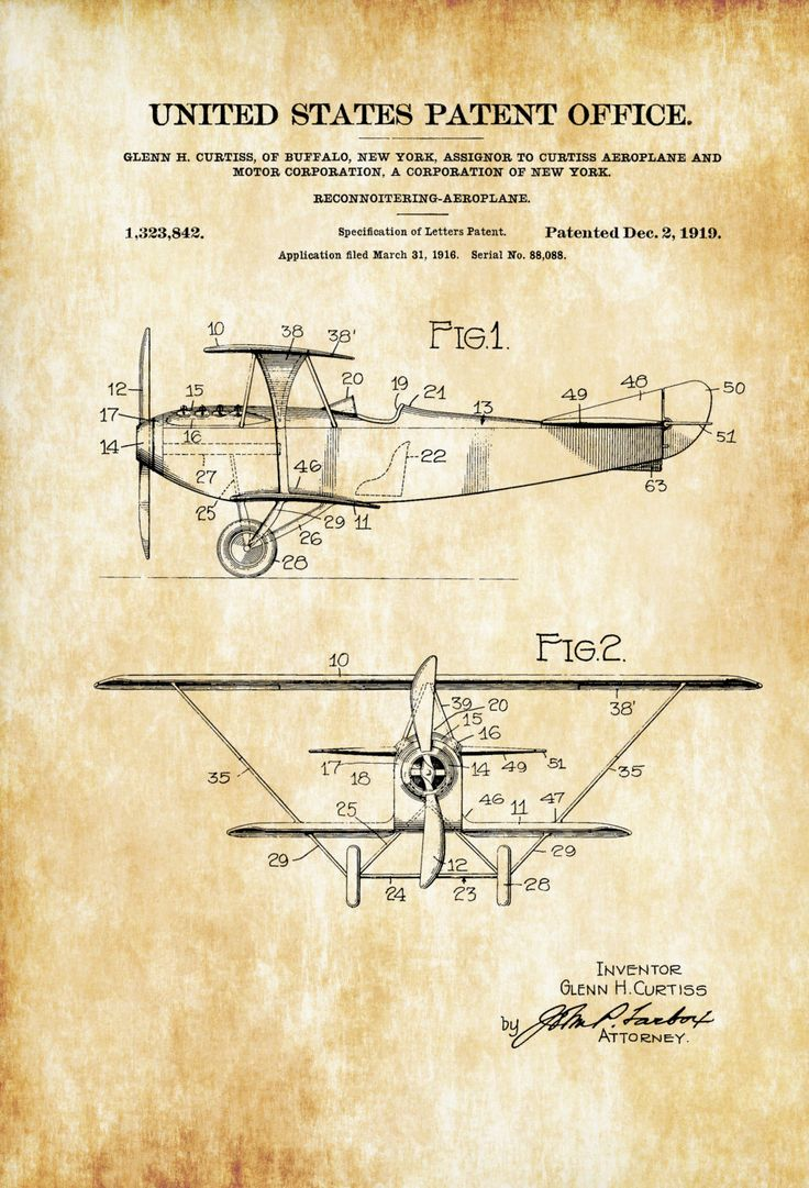 A patent print poster of a 1919 Reconnaissance Biplane Airplane invented by the legendary aircraft designer Glenn Curtiss.  The patent was issued by the United States Patent Office on December 2, 1919. Glenn Curtiss was an aviation pioneer and one of the founders of the U.S. aircraft industry. He began his career as a ...