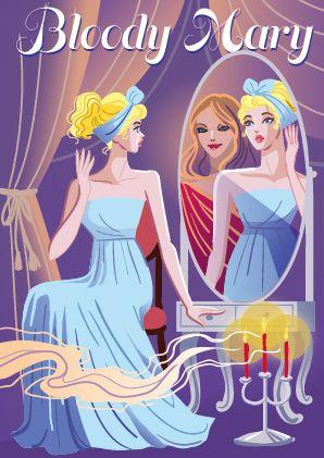 鏡占いするネグリジェの外国人少女のスタイリッシュなイラスト