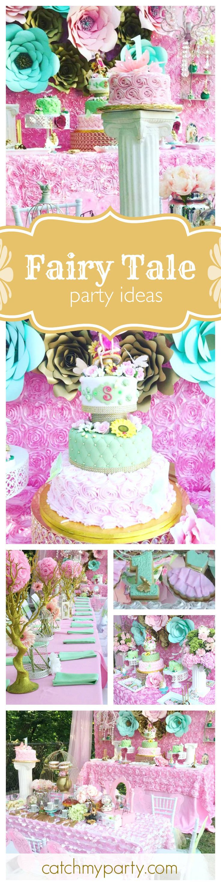 Thinking of throwing a Fairy Tale party? Then you won't want to miss this little girls pink 1st birthday party! The decorations are absolutely stunning! See more party ideas at CatchMyParty.com