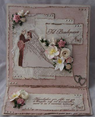 Bryllupskort laget uten bruk av maskiner eller ferdig diecut North Star Stamps North Star Design NDS NSS Stamps Handmade Shabby Chic Wedding Scrapping