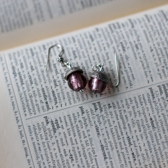 Acorn Earrings with Soft Pink Murano Glass Bead by jenandtricks, $13.00