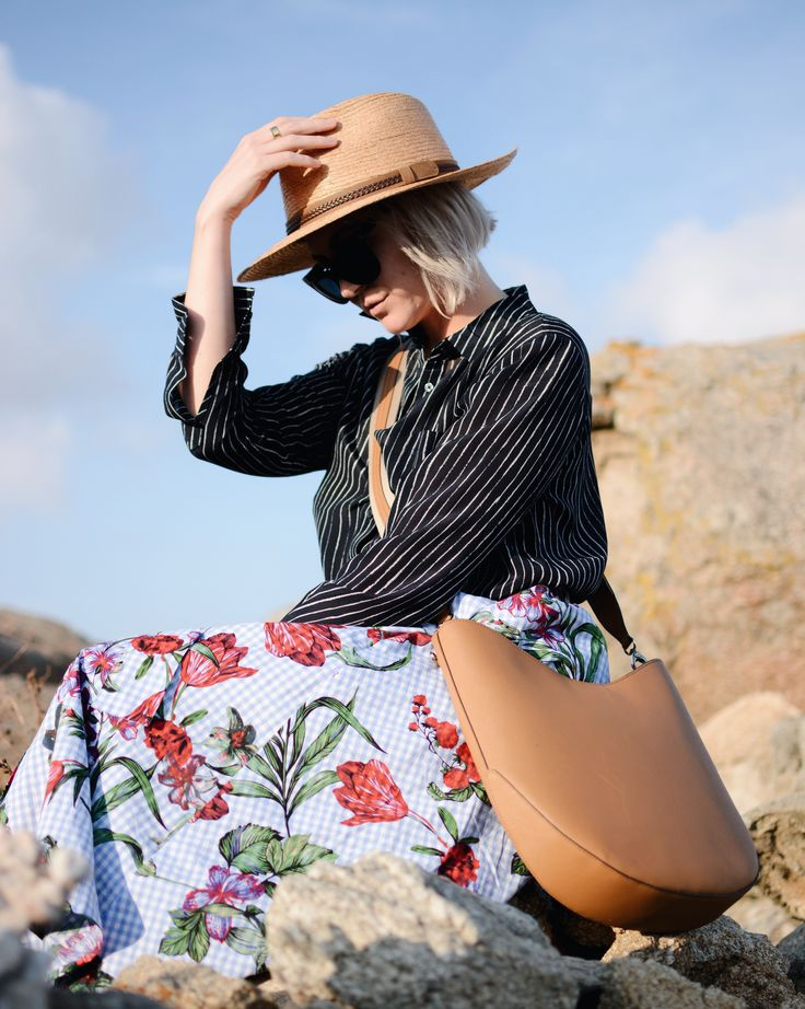silk and midi skirts in mykonos greece zara Henri bendel Tilley hats