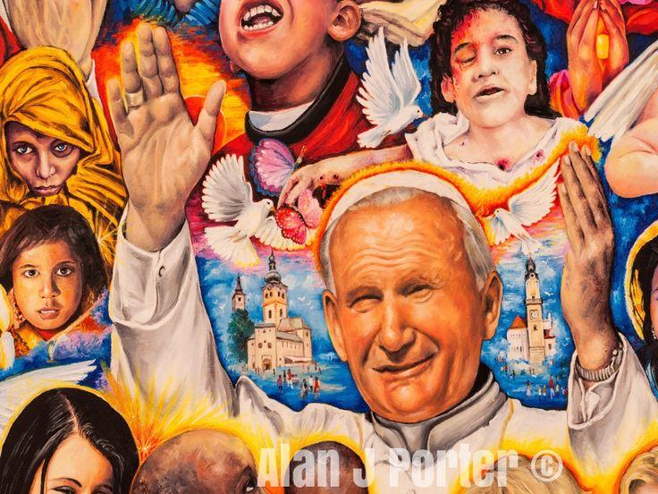 Pope John Paul II #alanjporterart #kompas #art #Saint #women #paintings #motherteresa #johnpaul #pope #padrepio #princess #men #ladydiana #aundreyhepburn