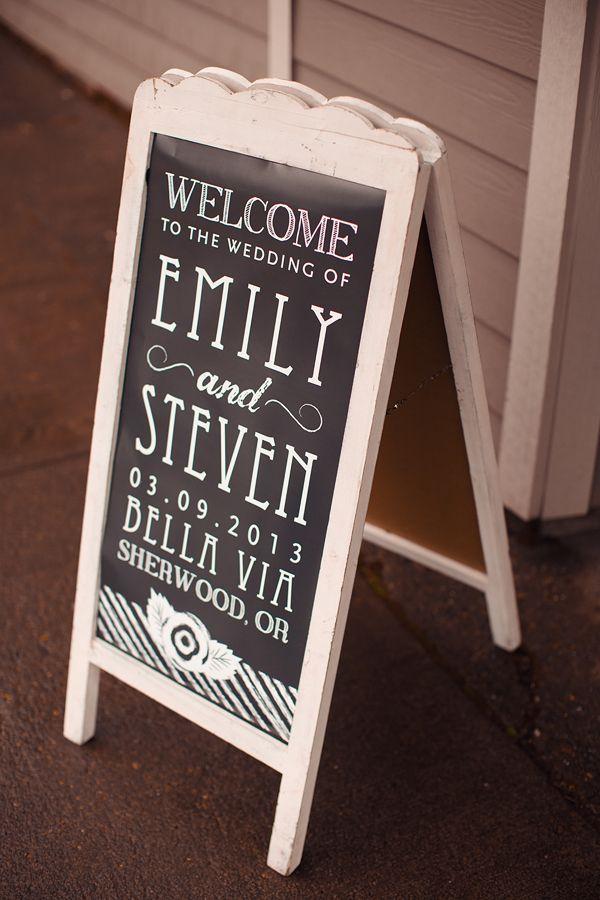 chalkboard wedding sign // outside front door?