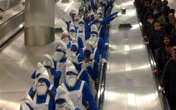 The 171 strong band of Hartlepool United supporters, dressed as Smurfs at Kings Cross Station, on route to cheer on their team against Charlton Athletic Photo: North News via Daily Telegraph (The riot afterwards must have been hilarious)